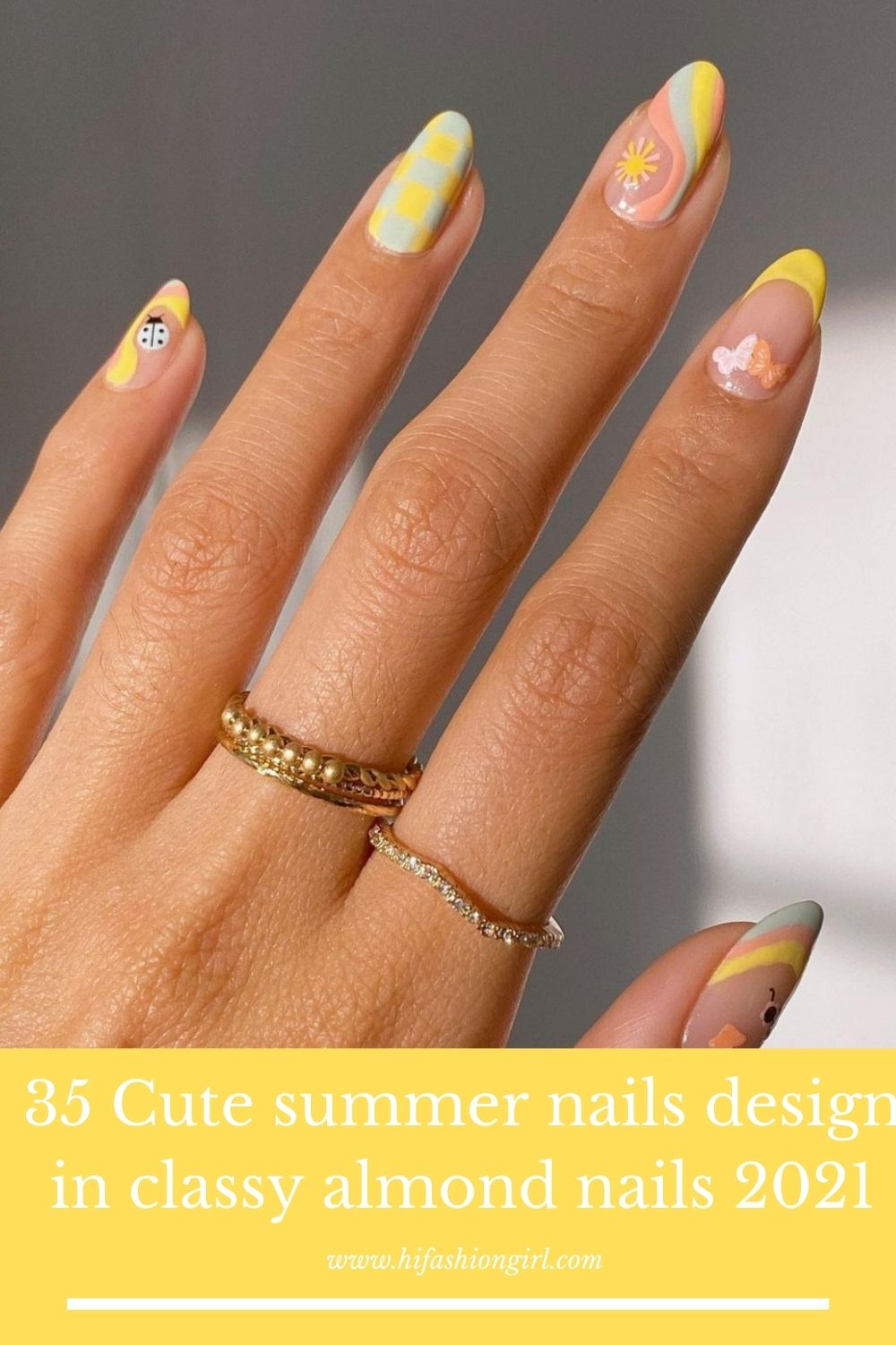 Trendy almond nail design for Summer nails colors 2021!