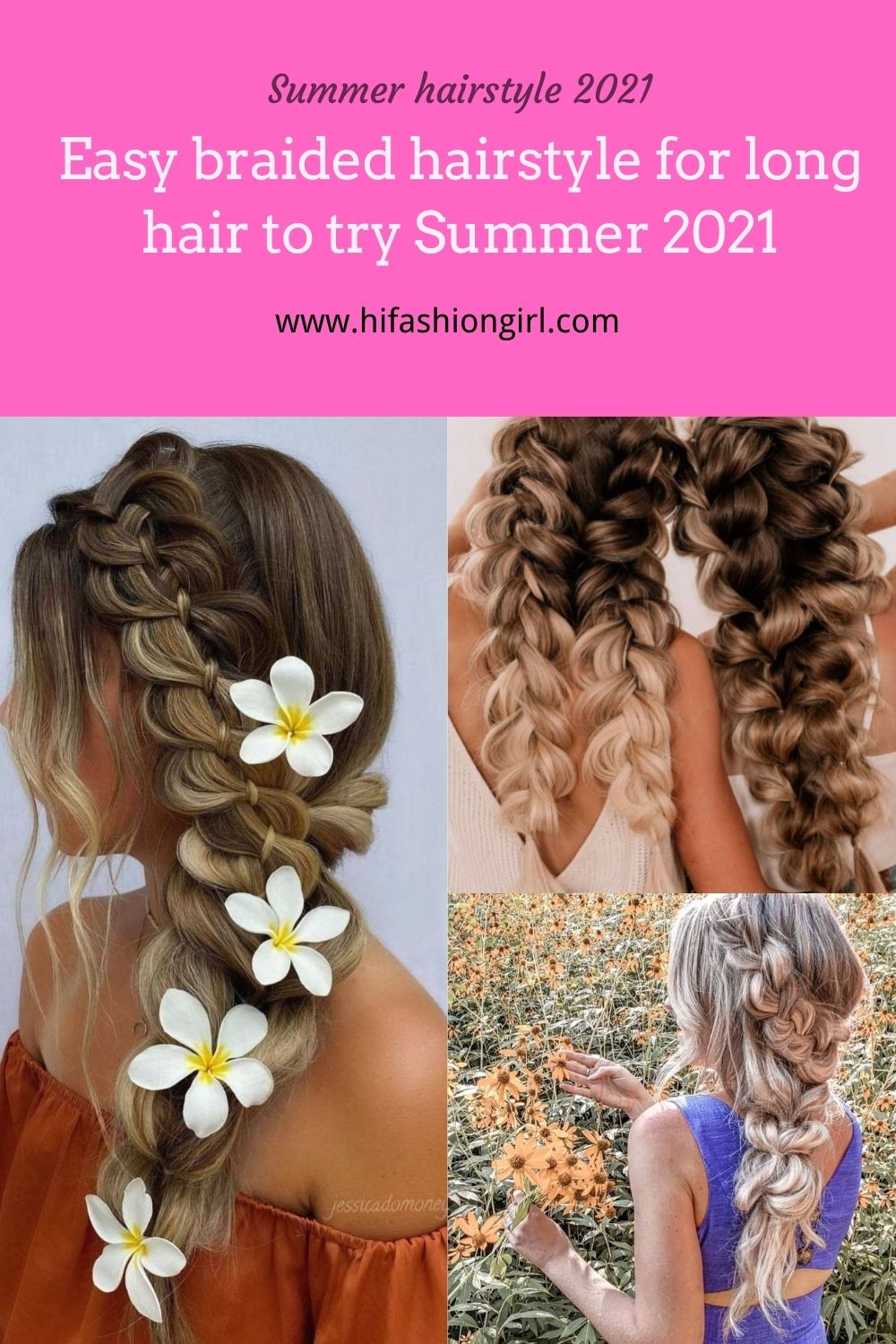 Easy summer braided hairstyle for long hair 2021
