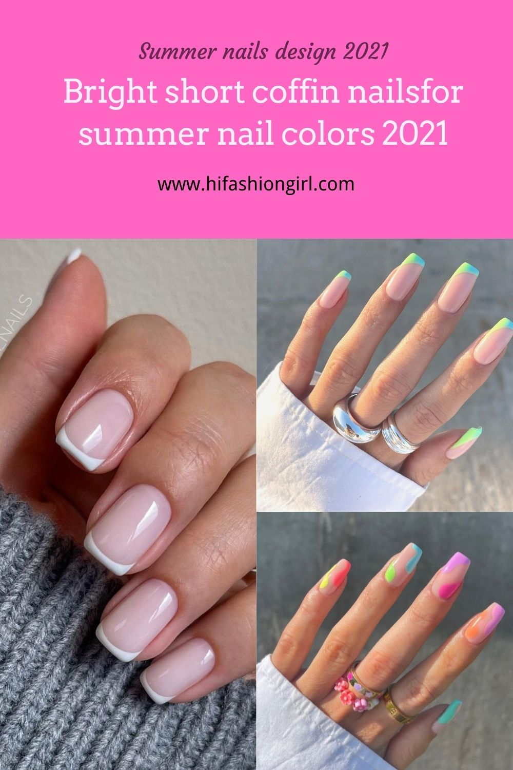 Bright short coffin nails design for summer nail colors 2021