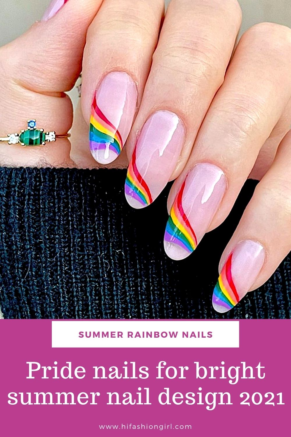 Pride nails design art for your Summer rainbow nail 2021 !