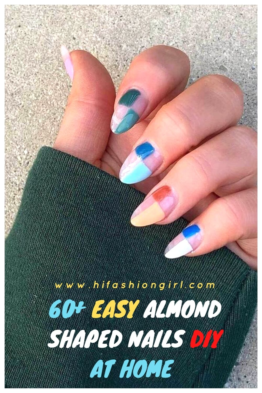 60+ Easy short almond-shaped nails DIY at home