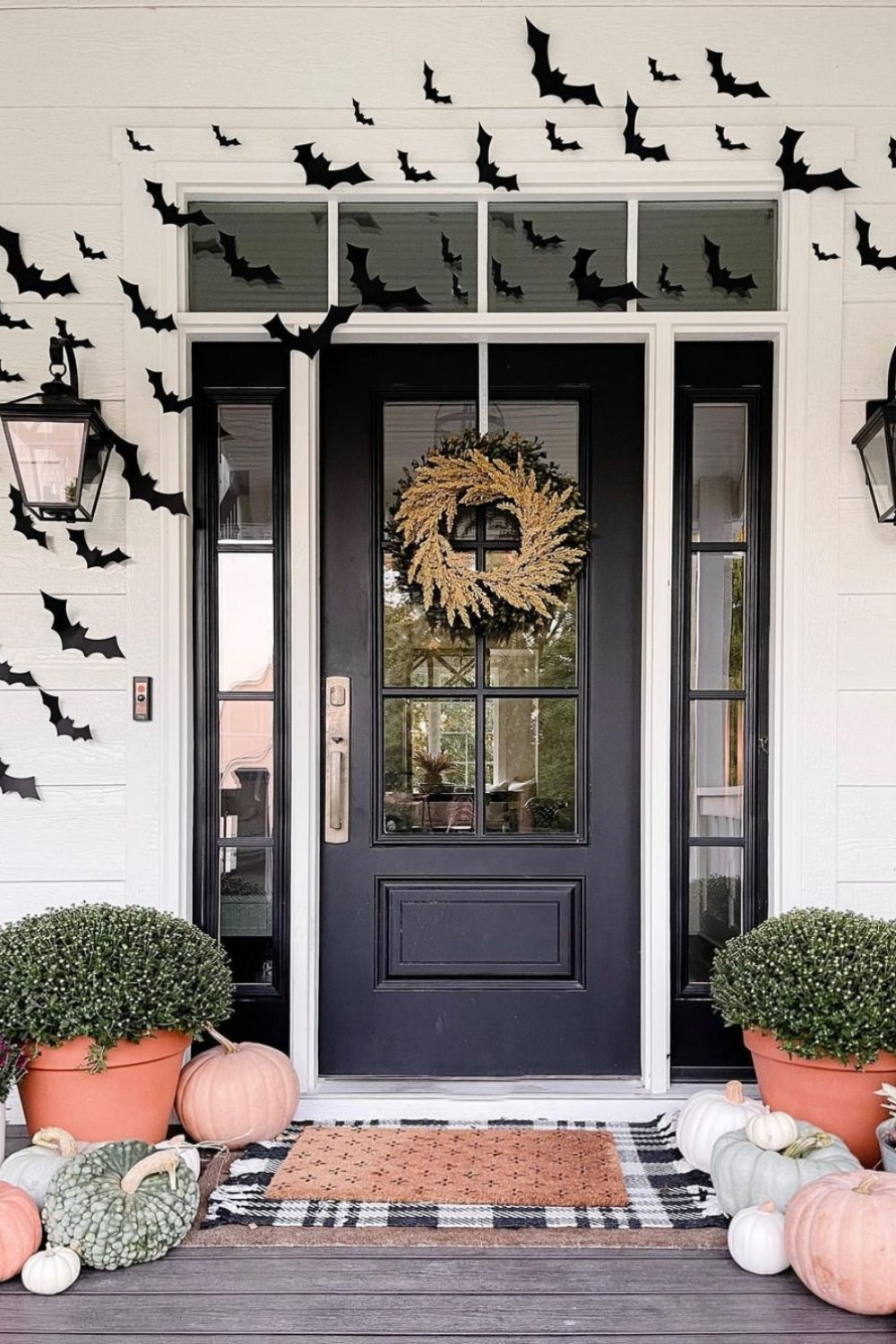 Spooky Halloween outside decoration 2021 with bat, ghost, skeleton